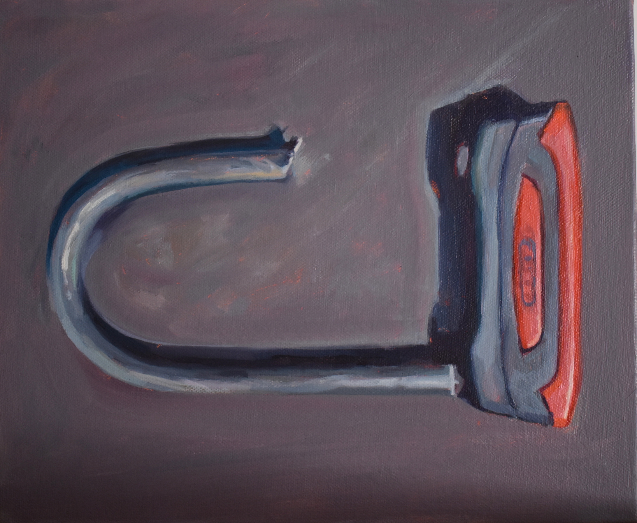 BROKEN PARTS_WRENCH–LEMN SISSAY BIKE LOCK oil on canvas ©HelenStone2020 LO