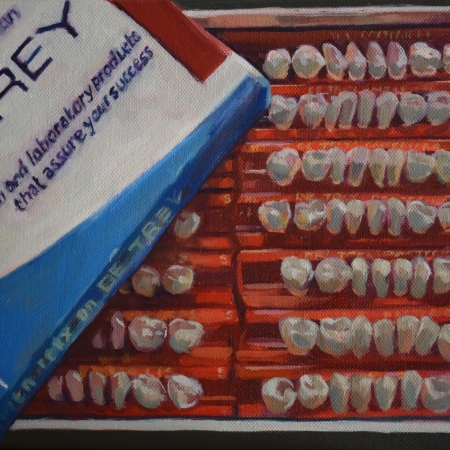 Painting of box of false porcelain teeth