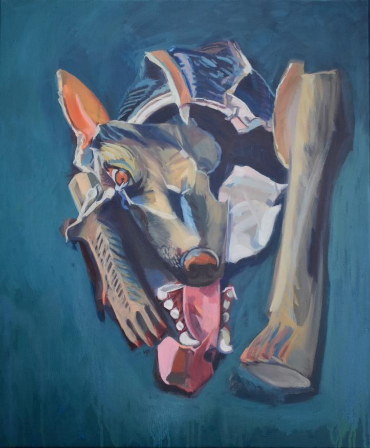 Oil painting of  a broken paper mâché dog – part of a series