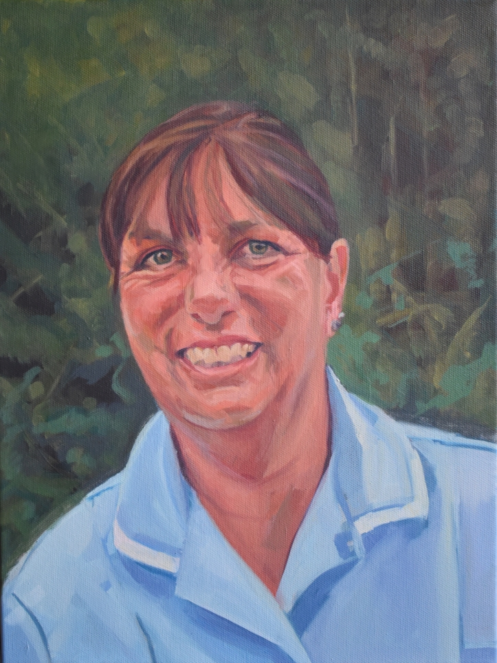 Oil painting portrait of nurse Deb Chart for NHS Portraits for NHS Heroes