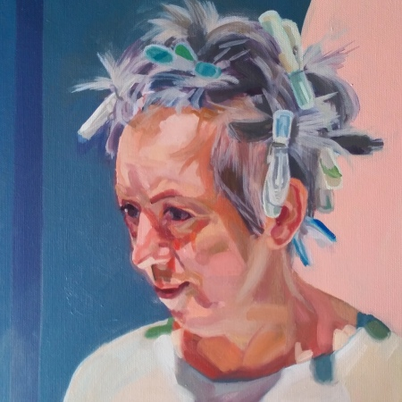 painted portrait of woman with hair tied up using clothes pegs