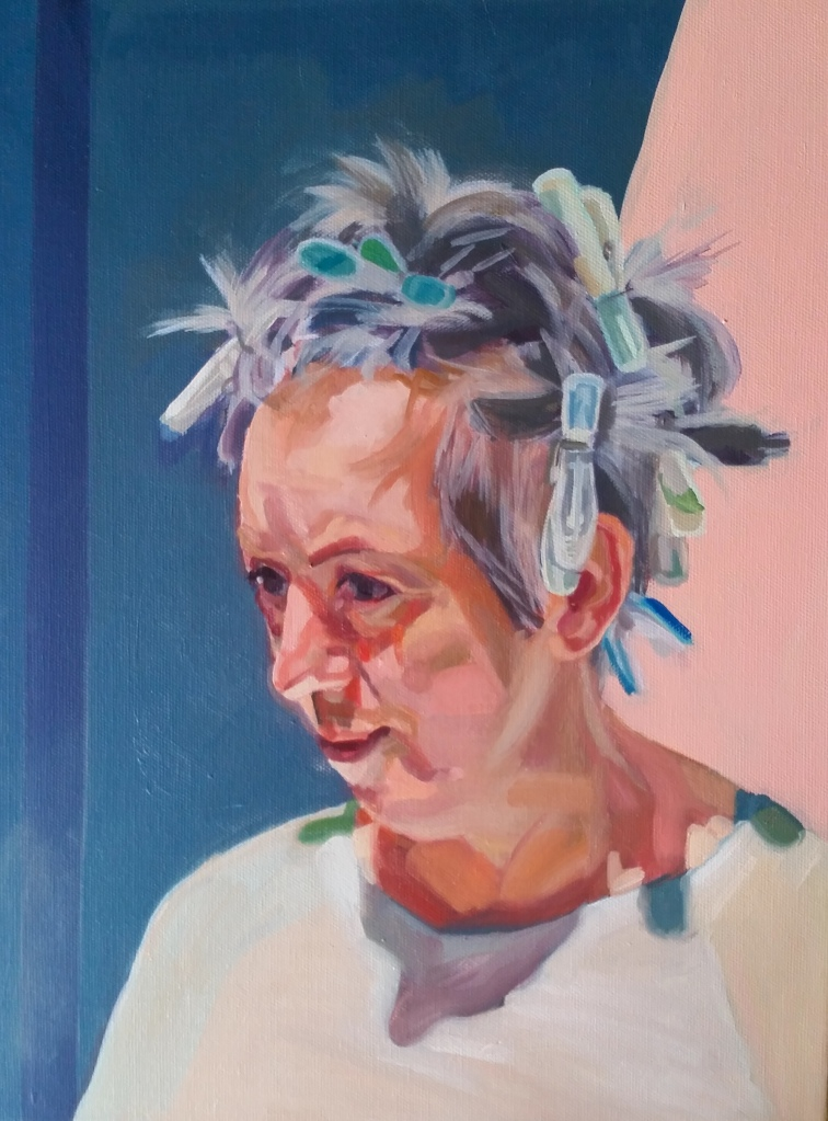 Painted portrait of woman with hair tied up with clothes pegs